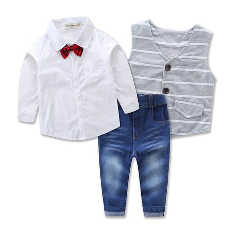 Spring Autumn 3pcs Clothes Set (Long Sleeve Shirt + Vest + Pants) For Baby Boy (2-8yrs)