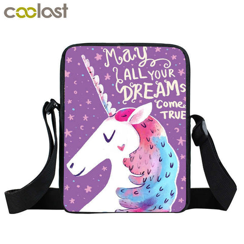 Unicorn Cartoon Mini Messenger Bag For Girls