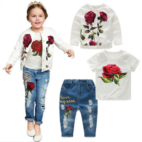 Spring/Autumn Girls Rose Flower Clothes Sets Long Sleeves (2-10 Years)