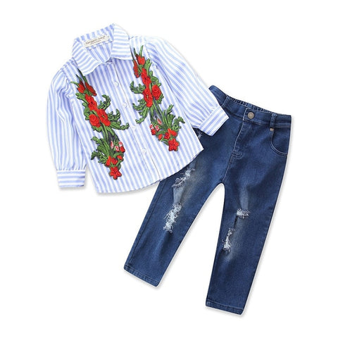 Spring/Autumn 3pcs Girls Clothes set Rose Flower Long Sleeves (2-10 years)