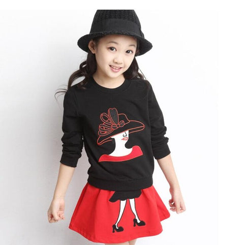 Teenager Girls Clothes Sets( Shirt Blouses Sweater+Skirt) Winter Costume( 2-10 Years)