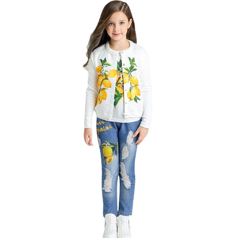 3pcs Girls Rose Flower Clothes Sets Long Sleeves Sets(2-10 Years) for Spring/Autumn