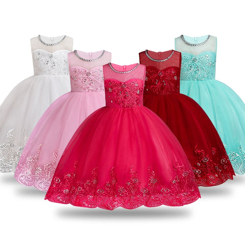 Princess Summer Flower Dress Gown for Girls( 3-12 Years)