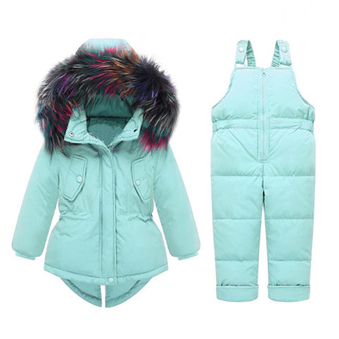 Toddler Girls Winter Clothing Sets( Jumpsuit Snow Jackets + Bib Pants)