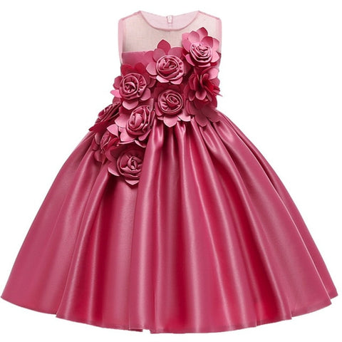 Princess Flower Lace Tulle Dress Gown