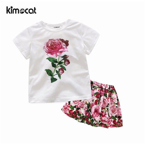 Kimocat Summer 2pcs Baby Girl Clothes (T-shirt+Skirt)