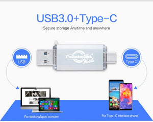 TheBackupStick Mobile USB Flash Drive 3.0 for Android Mobile - Type-C Device