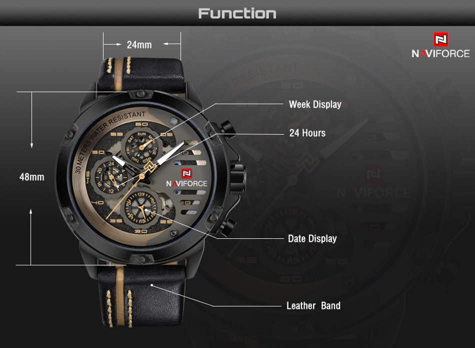 Luxury Waterproof 24 hour Date Quartz Watch