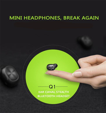 Small stereo earbuds hidden mini wireless headset Bluetooth earphone