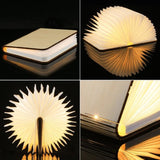 USB Rechargeable LED Magnetic Foldable Wooden Book Night Lamp