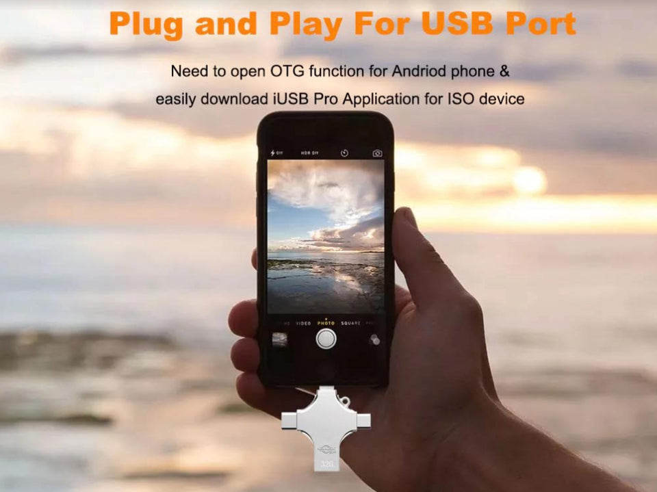 4 in 1 Mobile Memory Stick For PC | iPhone/iPad | Android Type-C | Android Micro USB