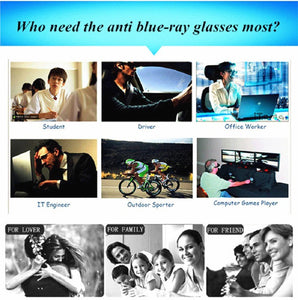 Anti Blue Rays Computer/Mobile Glasses 100% UV400 Radiation-resistant