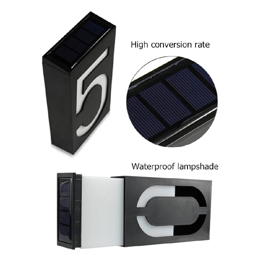 Solar Powered LED House Number Doorplate |  Number Address Digits Wall Mount Porch Lights With Battery