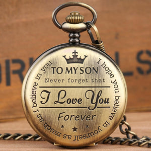 "Personalized Steampunk Retro Vintage Pocket Quartz Watch ""TO MY SON"""