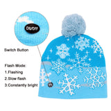 Led Light Cotton Christmas Hat Knit Up Beanie Hat For Kids Adult