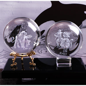 Laser Engraved Zodiac Sign Miniature 3D Crystal Ball
