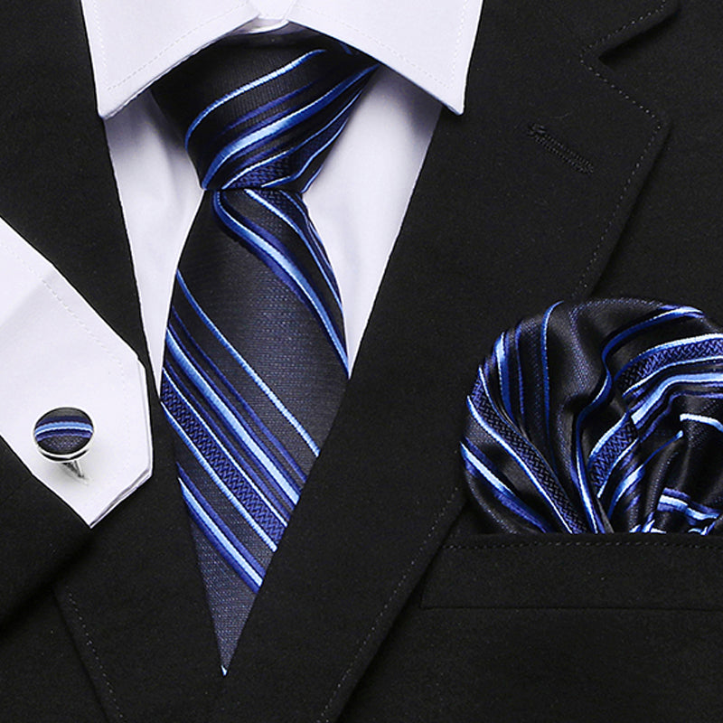 Tie + Hanky + Cufflinks Sets For Formal Wedding Business Party