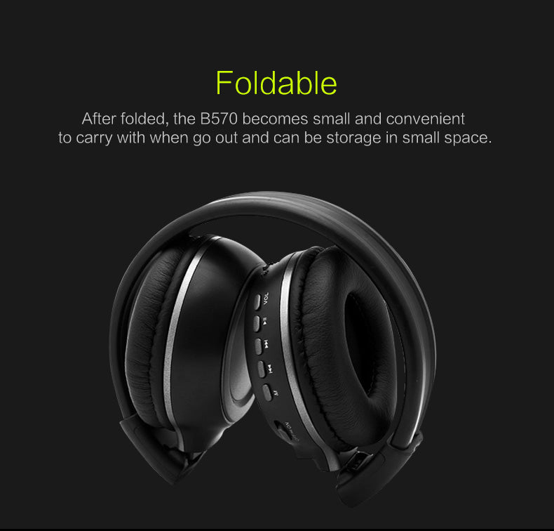 HiFi Stereo Bluetooth Wireless Headset With Microphone FM Radio Micro SD Card Play