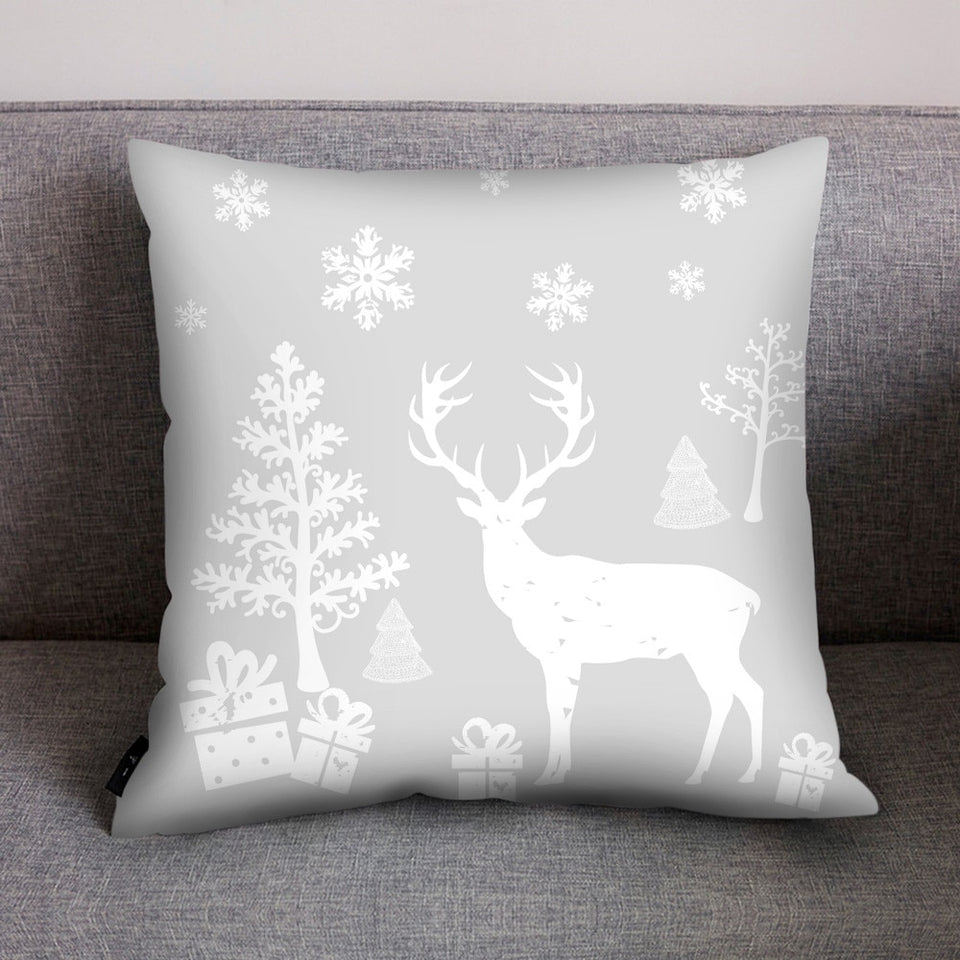 Nordic Style Merry Christmas Tree Elk Deer Print Light color Pillow Case