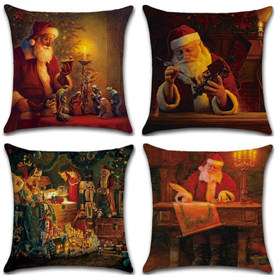 Linen Pillow Case Retro Christmas Santa Claus Pattern Home Decor Pillowcase 45*45cm