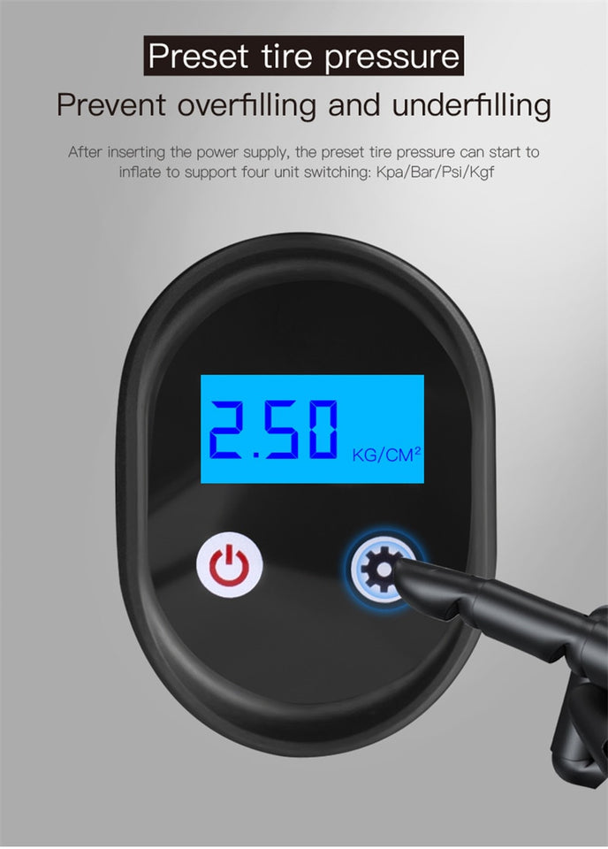 Mini Portable Electric Air Pump - USB Charging Tires Inflator For Auto | Bike | Bicycle | Motorcycle With LED Light