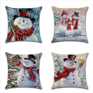Snowman Pattern Christmas Soft Pillow Case For Home Office Hotel 45x45cm
