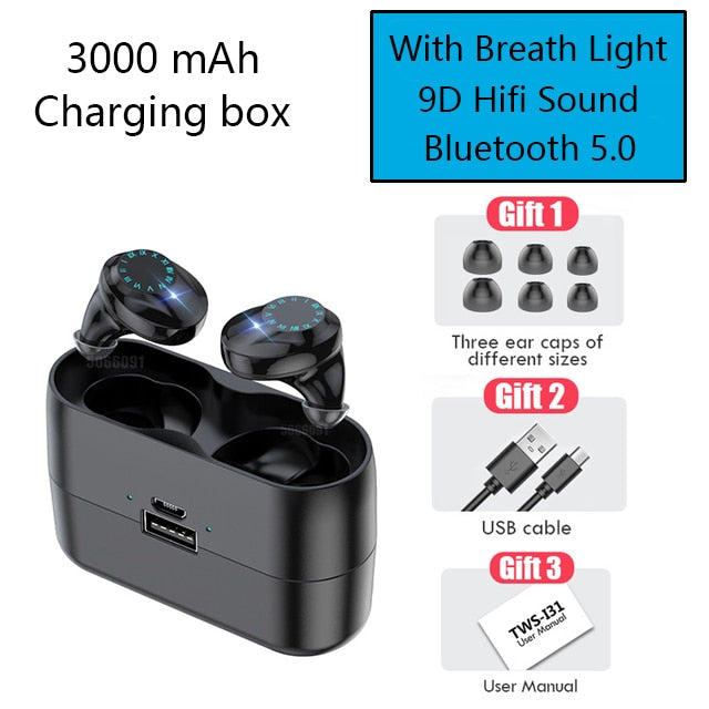 "9D Deep Bass ""True Wireless"" In-Ear Earbuds With Charging Box"