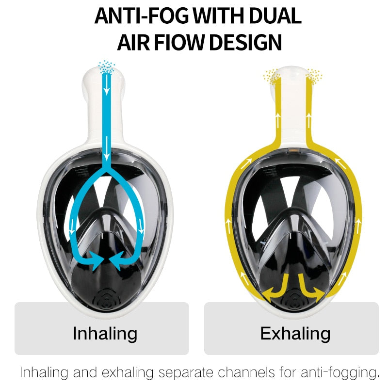 Full Face Scuba Diving Snorkel Mask - Anti Fog Goggles with Camera Mount