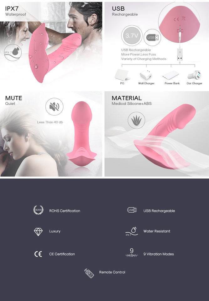 Wearable Butterfly Dildo Vibrator Adult Sex Toys With Wireless Remote Control