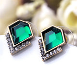 Exquisite Acrylic Geometric Green Gem Stud Earring