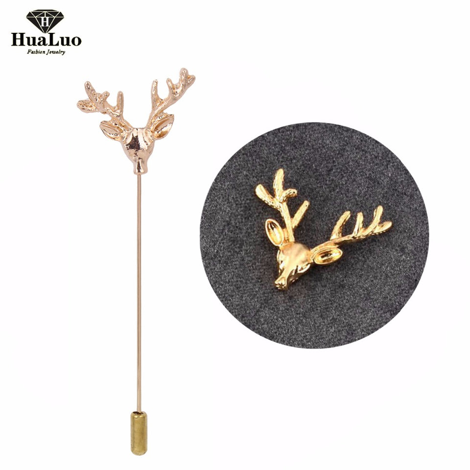 Gold Silver Plated Deer Head Lapel Pin Boutonniere Stick Brooch