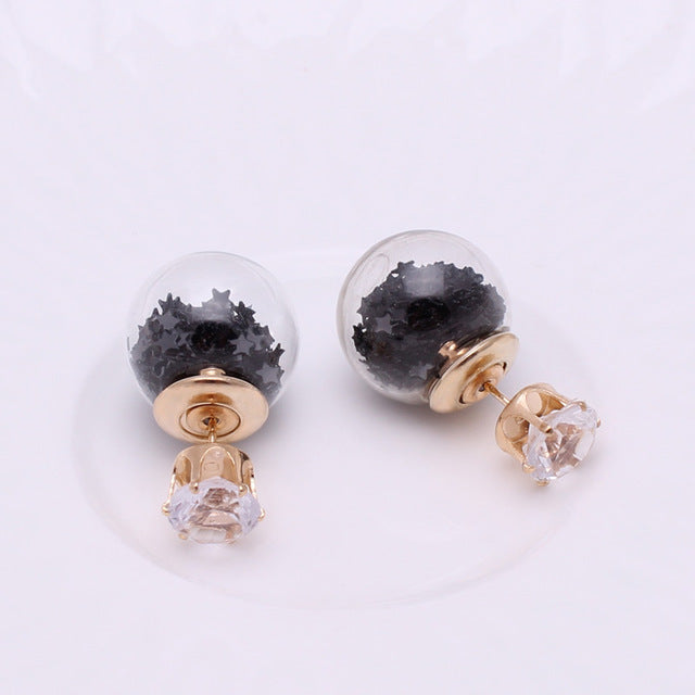Golden Crown Crystal Shining Double Sides Big Glass Pearl Stud Earrings