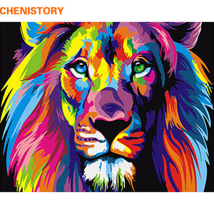 DIY Painting By Numbers Colorful Lion Animals