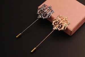 Fashion Retro Gold-color Vintage Shape Suits Brooch Pin For Men
