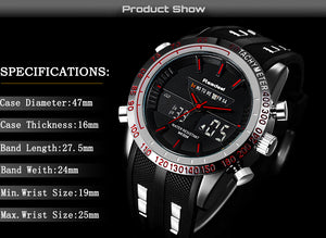 Waterproof LED Digital Quartz Men Military Wrist Watch