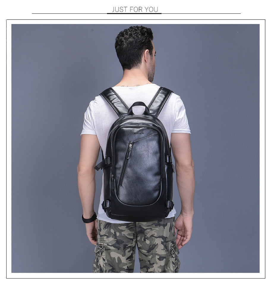 Waterproof 15.6 inch laptop leather backpack