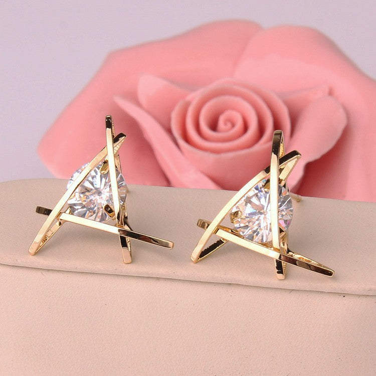 Zircon Gold Color Square Stud Earring