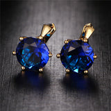 Bijoux 7 Color Vintage Punk Silver Color Crystal Stud Earring
