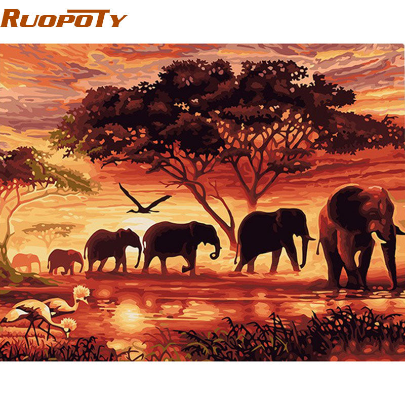 DIY Digital Painting By Numbers Elephants Landscape