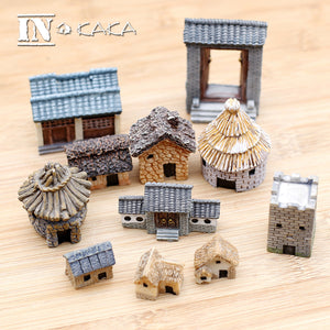 Antique Mini House Retro Building Micro Fairy Garden Figurines Miniatures/Terrarium