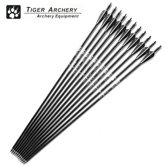 12pcs 30inch Fiberglass Hunting Arrows Archery Spine 500 For Compound & Recurve Bow
