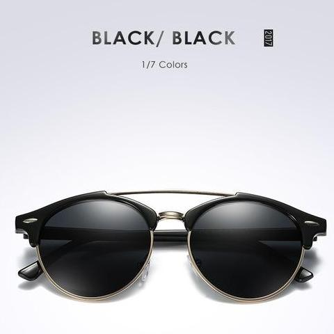 Fashion Mens Club Round Polarized Designer Polaroid Double Bridge Sunglass