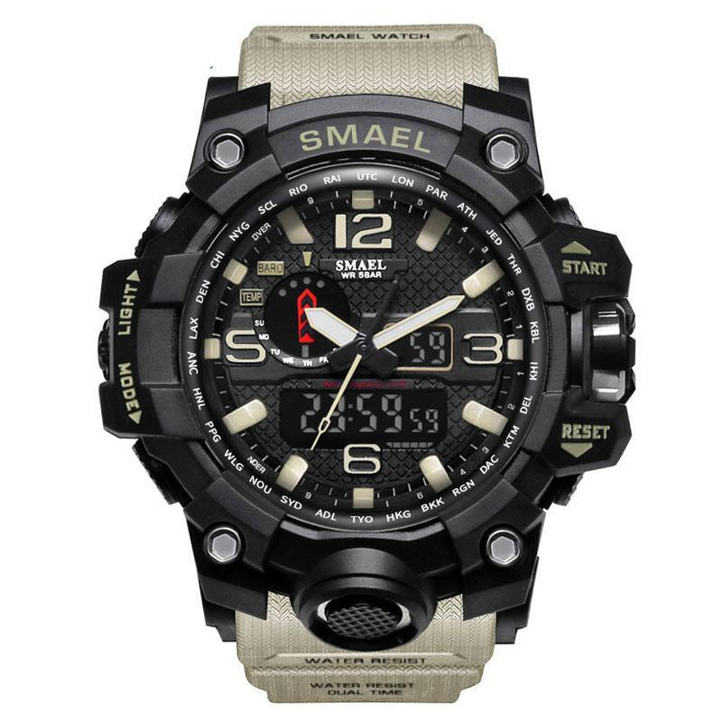 Waterproof Sport S Shock Wristwatch with LED Quartz Clock