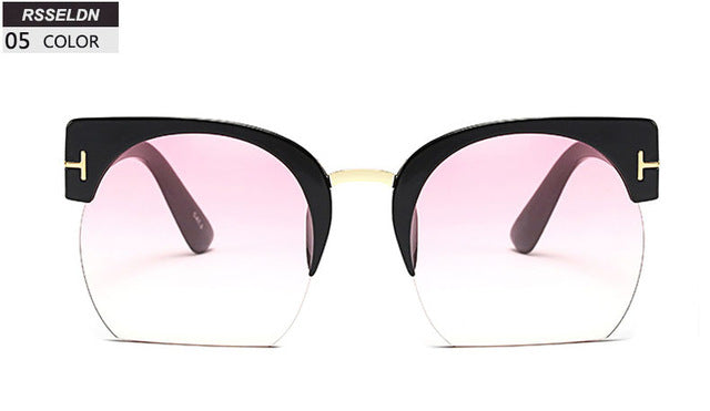 Newest Semi-Rimless Clear Lens Sun Glasses For Women