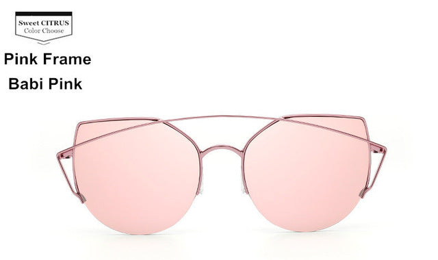 Sweet CITRUS Cat eye Designer Metal Original Sun Glasses For Female