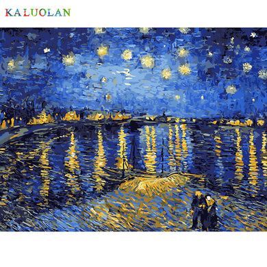 DIY Painting By Numbers starry sky river side