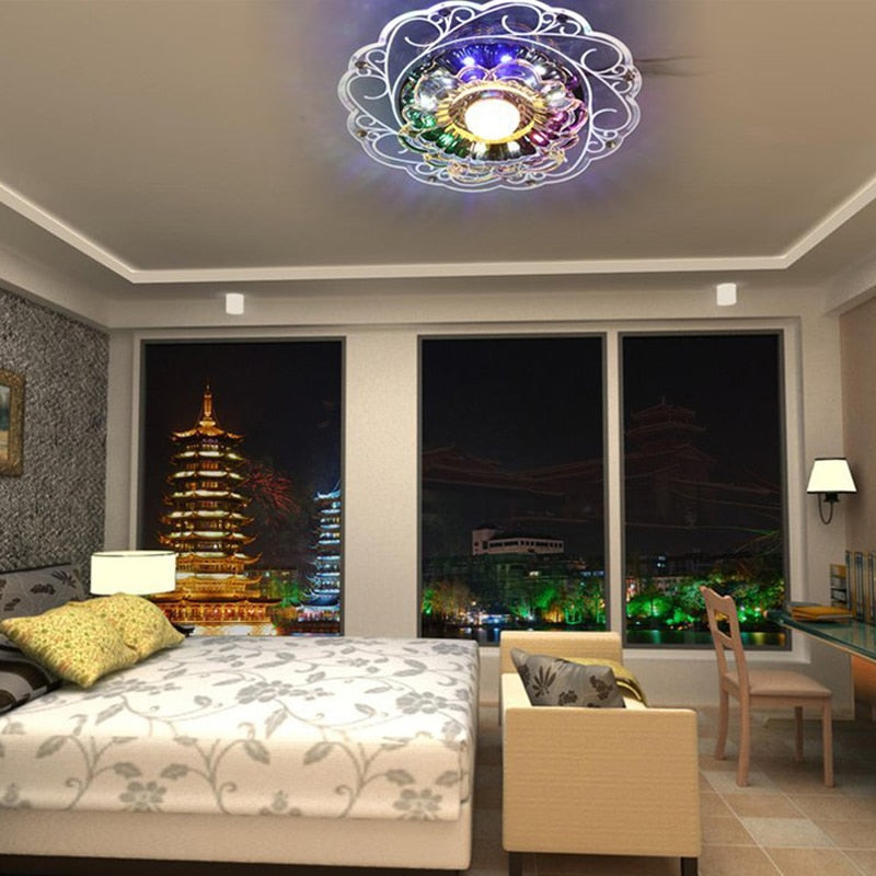 Practical-3W LED Crystal Lotus Ceiling Light