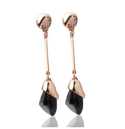 Geometric Classic Crystal Gold Color Water Drop Earring