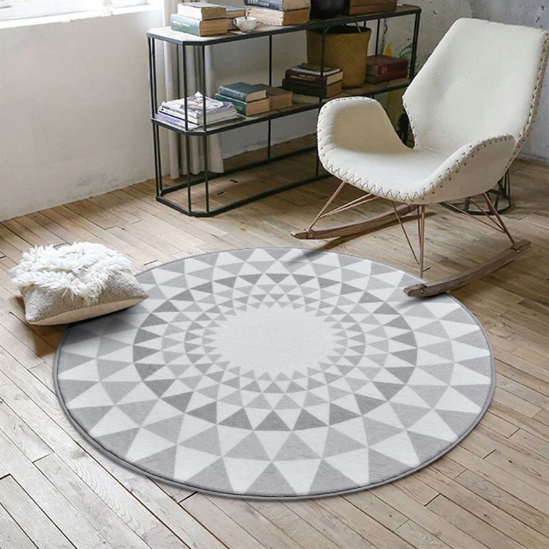 Nordic Gray Series Round Carpets For Living Room