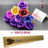 10PC/ lot 24k Gold Rose Foil Plated Gold rose